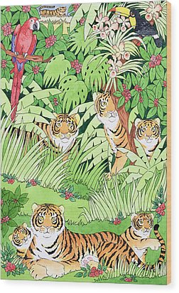 Tiger Jungle Wood Print by Suzanne Bailey