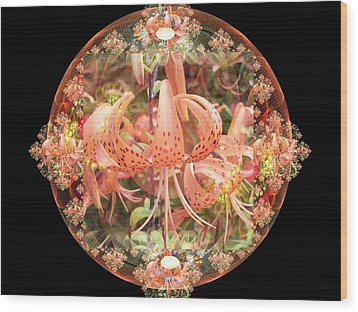 Tiger Lily Sphere Wood Print by Nancy Pauling