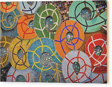 Tiled Swirls Wood Print by Adam Romanowicz