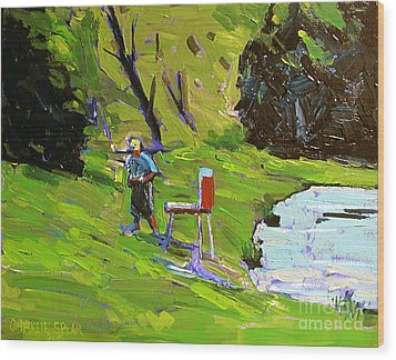 Tim The Plein Air Painter After Monet Wood Print by Charlie Spear