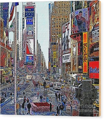 Time Square New York 20130503v8 Square Wood Print by Wingsdomain Art and Photography