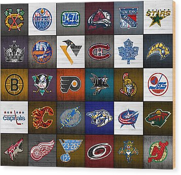Time To Lace Up The Skates Recycled Vintage Hockey League Team Logos License Plate Art Wood Print by Design Turnpike
