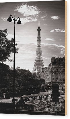 Timeless Eiffel Tower Wood Print by Olivier Le Queinec