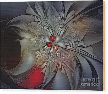 Timeless Elegance-floral Fractal Design Wood Print by Karin Kuhlmann