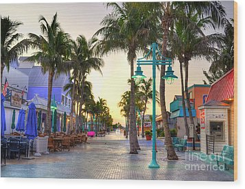Times Square Fort Myers Beach Wood Print by Timothy Lowry