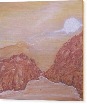 Titan -saturn Vi Midnight By A Methane Lake Wood Print by Nicla Rossini