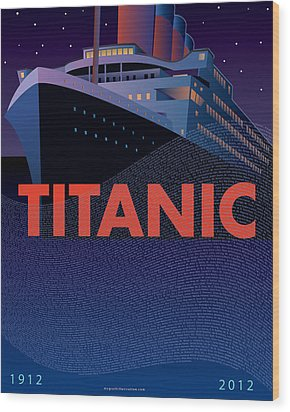 Titanic 100 Years Commemorative Wood Print by Leslie Alfred McGrath