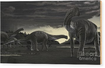 Titanosaurs In The First Storm Wood Print by Rodolfo Nogueira