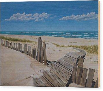 To The Beach Wood Print by Paul Bennett