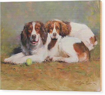 Toby And Ellie Mae Wood Print by Anna Rose Bain