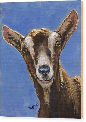 Toggenburg Goat On Blue Wood Print by Dottie Dracos