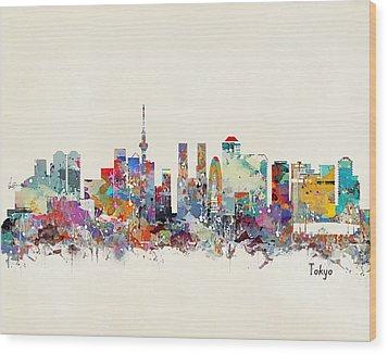 Tokyo Skyine Wood Print by Bri B