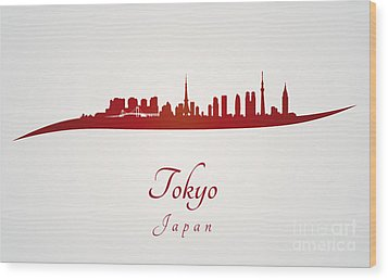 Tokyo Skyline In Red Wood Print by Pablo Romero