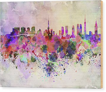 Tokyo Skyline In Watercolor Background Wood Print by Pablo Romero