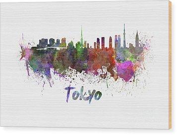 Tokyo Skyline In Watercolor Wood Print by Pablo Romero