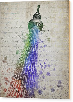 Tokyo Skytree Wood Print by Aged Pixel