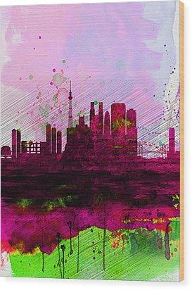 Tokyo Watercolor Skyline Wood Print by Naxart Studio