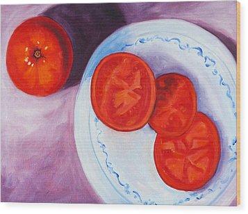 Tomato Wood Print by Nancy Merkle