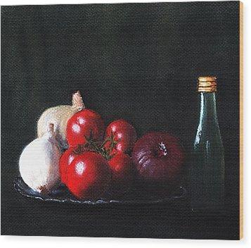 Tomatoes And Onions Wood Print by Anastasiya Malakhova