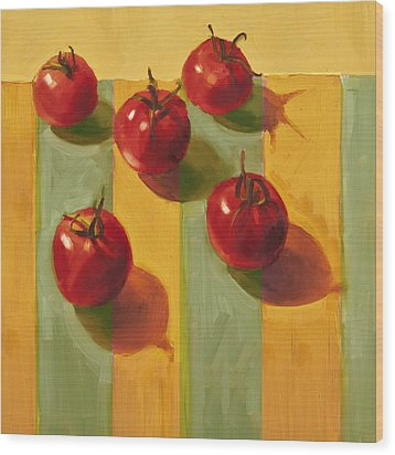 Tomatoes Wood Print by Cathy Locke