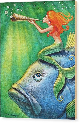 Toot Your Own Seashell Mermaid Wood Print by Sue Halstenberg
