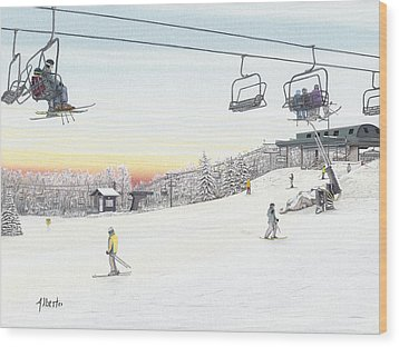 Top Of The Mountain At Seven Springs Wood Print by Albert Puskaric
