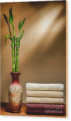Towels And Bamboo Wood Print by Olivier Le Queinec