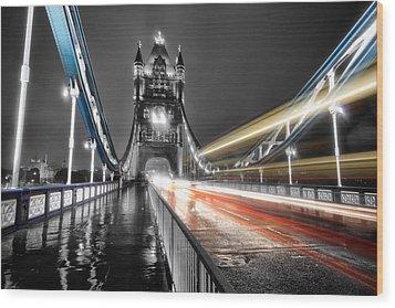 Tower Bridge Lights Wood Print by Ian Hufton