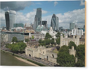 Tower Of London And City Skyscrapers Wood Print by Mark Thomas