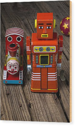Toy Robot And Train Wood Print by Garry Gay