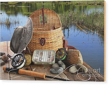 Traditional Fly-fishing Rod With Equipment  Wood Print by Sandra Cunningham