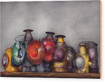 Train - A Collection Of Rail Road Lanterns  Wood Print by Mike Savad