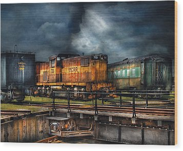 Train - Let's Go For A Spin Wood Print by Mike Savad