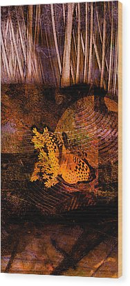 Tranquility Butterfly Collage Art  Wood Print by Ann Powell