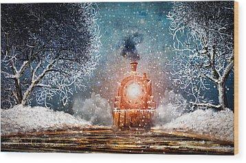Traveling On Winters Night Wood Print by Bob Orsillo