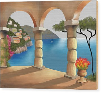 Treasures Of Amalfi Wood Print by Larry Cirigliano