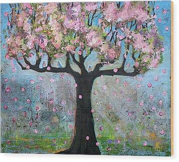 Tree Blossoms And Bluebirds Wood Print by Blenda Studio