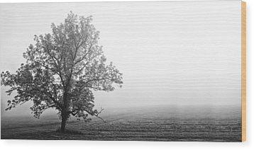 Tree In The Fog Wood Print by Andrew Soundarajan