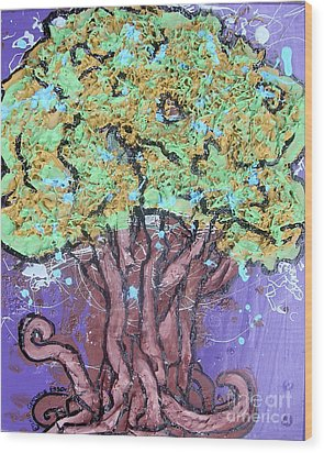 Tree In Three Dee Wood Print by Genevieve Esson