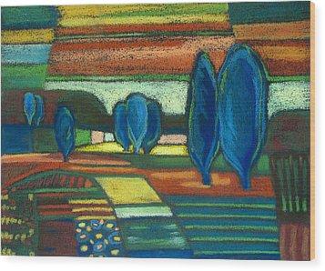 Trees Of Blue Wood Print by Gergana Valkova