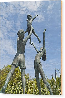 Tresco Children Wood Print by Alex Cassels