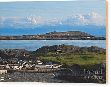 Trial Island And The Strait Of Juan De Fuca Wood Print by Louise Heusinkveld