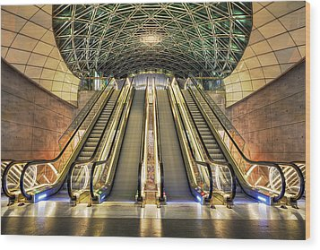 Triangeln Station Escalators Wood Print by EXparte SE
