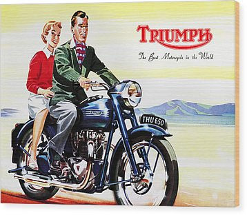 Triumph 1953 Wood Print by Mark Rogan