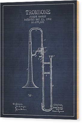 Trombone Patent From 1902 - Blue Wood Print by Aged Pixel