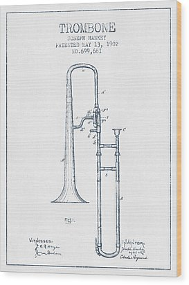 Trombone Patent From 1902 - Blue Ink Wood Print by Aged Pixel