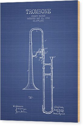 Trombone Patent From 1902 - Blueprint Wood Print by Aged Pixel