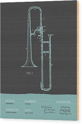 Trombone Patent From 1902 - Modern Gray Blue Wood Print by Aged Pixel