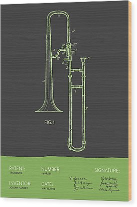 Trombone Patent From 1902 - Modern Gray Green Wood Print by Aged Pixel