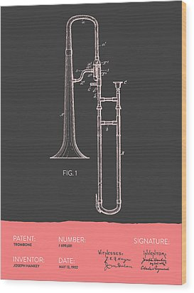Trombone Patent From 1902 - Modern Gray Salmon Wood Print by Aged Pixel